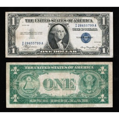 Rare $1 Silver Certificate Series 1935 NO Mint Mark, Dated Twice on ...
