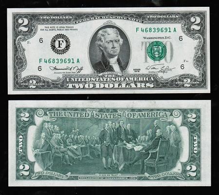 $2 Bicentennial Federal Reserve Note Series 1976 (Crisp Unc  GEM)