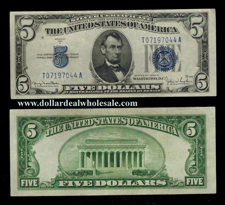 5 Silver Certificate Big Blue Seal Series 1934 Select Your Condition