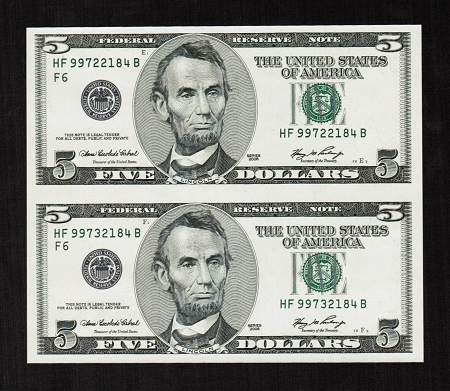 Subject Sheet Of 2 Uncut Rare No Design 5 Dollar Bills