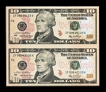 Subject Sheet of 2 Uncut $10 Dollar Bills Series 2006
