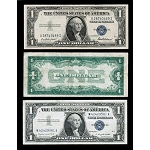 Beautiful Beautiful Set of Silver Certificates, 1957, 1935,1928 Funny Back! (F-VF)