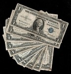 Set of 10 Silver Certificates Mix of Series 1957 and 1935