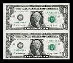 Subject Sheet of 2 Uncut $1 Dollar Bills Series 2006