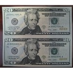 Subject Sheet of 2 Uncut $20 Dollar Bills Series 2009