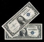 Set of 2 Silver Certificates Series 1935 &1957 (F+)