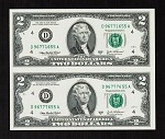 Subject Sheet of 2 Uncut $2 Dollar Bills Series 2003
