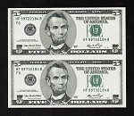 Subject Sheet of 2 Uncut Rare No Design $5 Dollar Bills Series 2006