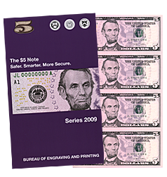 Subject sheet of 32 Uncut $5  Bills Series 2009