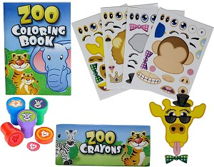 12 Animal Coloring Books and Crayons, 12 Jungle Zoo Stampers, 12 Zoo Animal Stickers, Party Favor Set (1 Dozen of Each )
