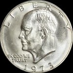 1 U.S. Eisenhower Ike $1 Dollar Coin Series 1973 Key Date (XF-UNC.)