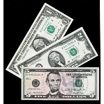 Beautiful  Set of  Currency $1 $2 $5 U.S. Paper Money (Crisp Uncirculated GEM)
