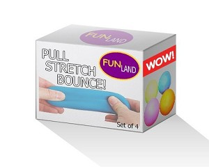 Pull and Stretch Bounce Ball, Squeeze It, Stretch It, Bounce It, Set of 4