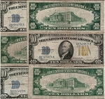 $10 Silver Certificate Yellow Seal  Series 1934A (F-F+)
