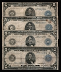 $5 Blue Seal Large Size FRN Note, Series 1914 (G-VG)