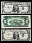 Set of Red & Blue Seals, $1 1935, $1 1957, $2 1963, (VG-F+)